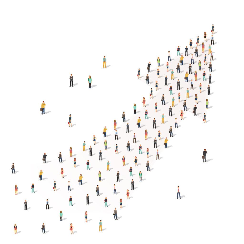 Pessoas juntas em forma de seta